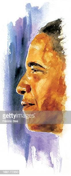 John Alvin color illustration of Barack Obama