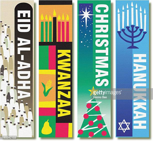 John Alvin color illustration of four holiday banners for Eid AlAdha Kwanzaa Christmas and Hanukkah