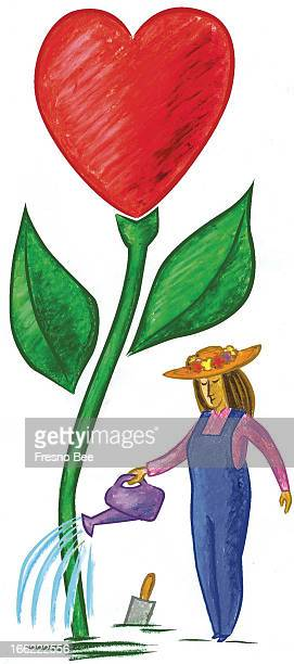 John Alvin color illustration of single woman watering her heartshaped garden plant