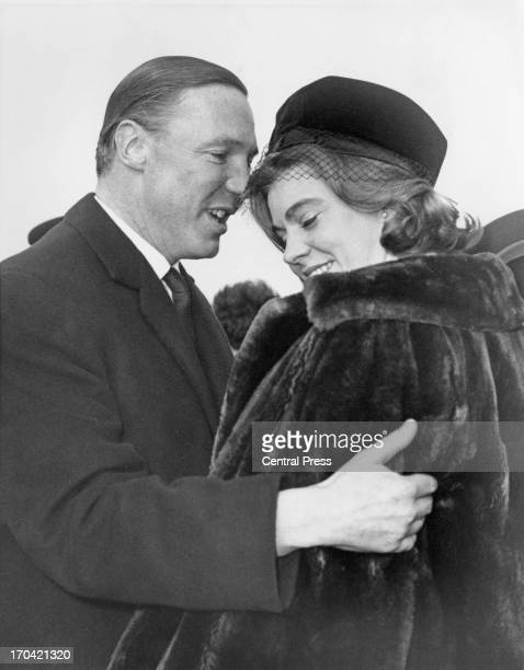 John Ambler greets his fiance Princess Margaretha of Sweden at London Airport, 7th March 1964. The couple were recently engaged and Princess...