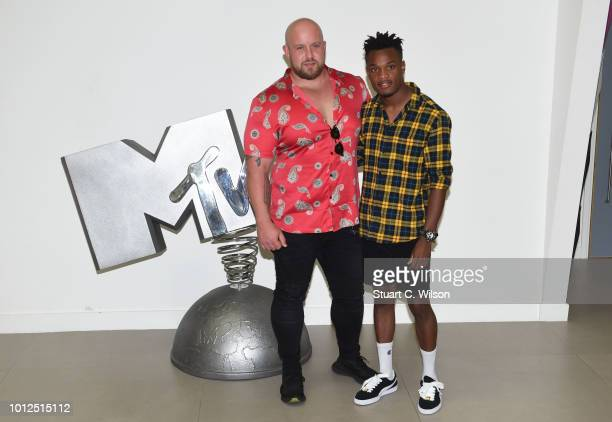 John and Chris contestants of 'True Love or True Lies' attend the launch at MTV London on August 7 2018 in London England