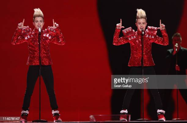 John and Edward Grimes of the band Jedward from Ireland peform at a dress rehearsal the day before the second semifinals of the Eurovision Song...