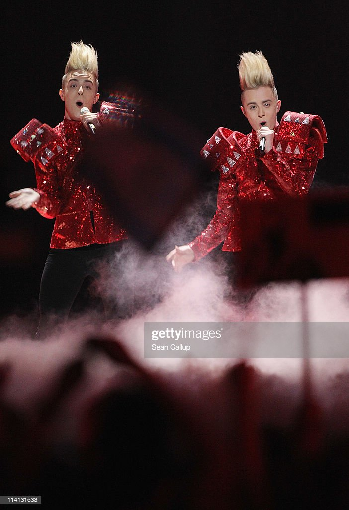 John and Edward Grimes of the band Jedward from Ireland peform in the second semi-finals of the Eurovision Song Contest 2011 on May 12, 2011 in Dusseldorf, Germany.