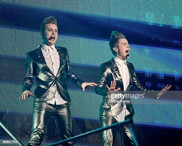 John and Edward perform on stage during the X Factor Live Tour at the LG Arena on February 17, 2010 in Birmingham, England.
