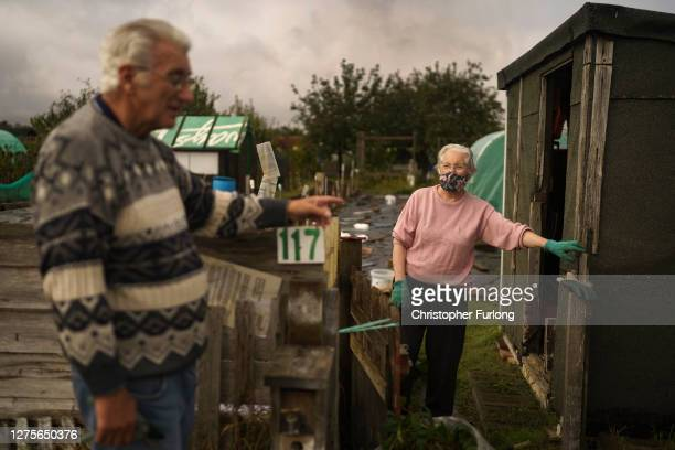 John and Florence Wilkinson tend to their allotment on September 20, 2020 in Sunderland, United Kingdom. Since easing its first nationwide lockdown...