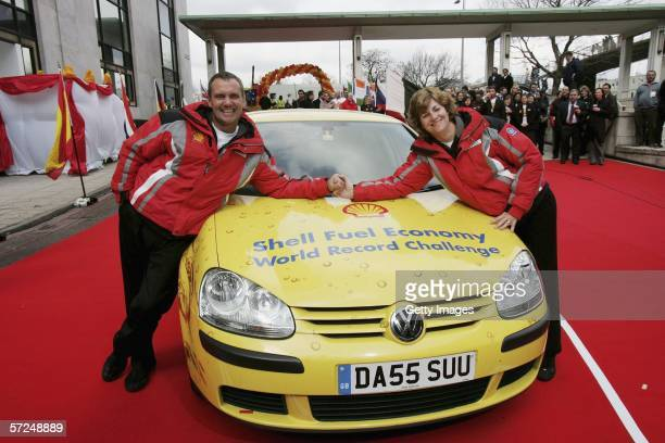 John and Helen Taylor complete the Shell Fuel Economy Challenge finishing at The Shell Centre on April 4 2006 in London England The Taylor's set a...