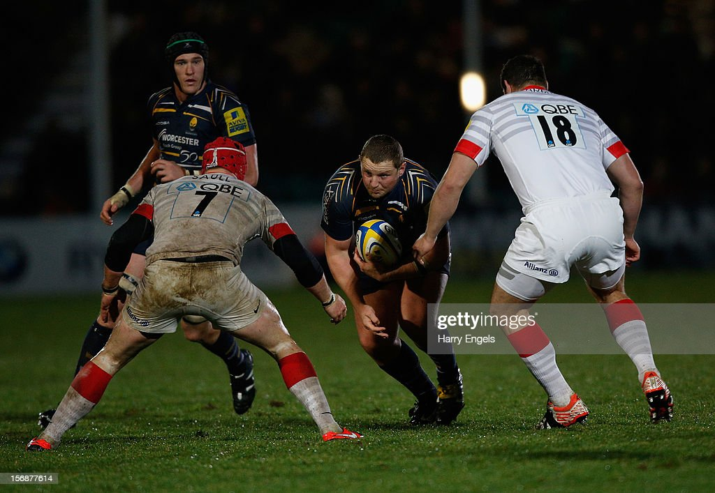 John Andress of Worcester charges at the Saracens defence during the Aviva Premiership match between Worcester Warriors and Saracens at Sixways Stadium on November 23, 2012 in Worcester, England.