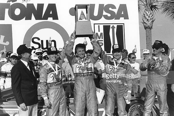 John Andretti Derek Bell and Bob Wollek celebrate in victory lane at Daytona International Speedway after their victory in the SunBank 24 at Daytona...