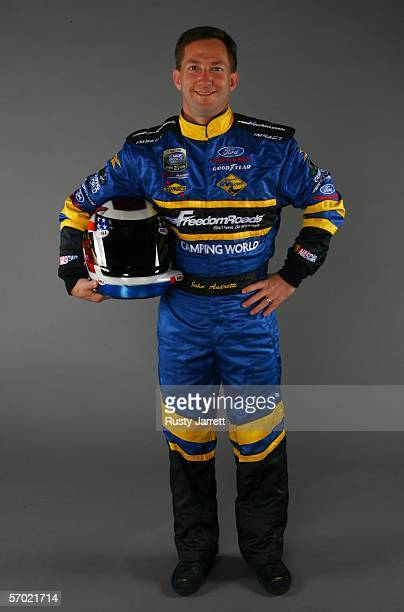 John Andretti driver of the Freedom Roads Ford during the NASCAR Busch Series media day at Daytona International Speedway on February 9 2006 in...