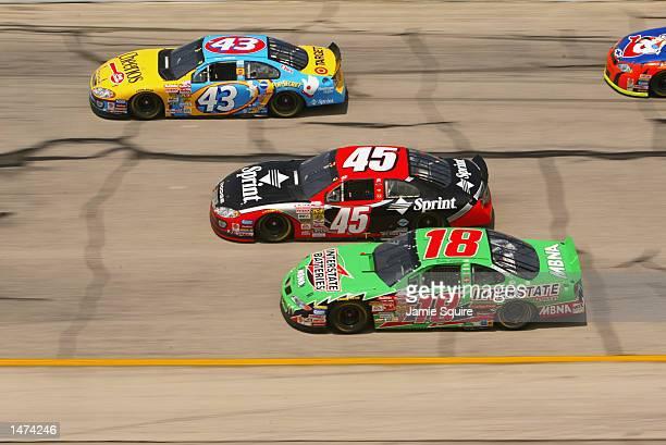 John Andretti driver of the Petty Enterprises Cheerios Dodge Intrepid R/T races alongside Kyle Petty driver of the Petty Enterprises Dodge Intrepid...