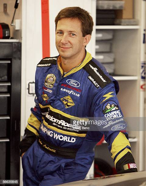 John Andretti driver of the PPC Racing Ford waits out a rain delay during the NASCAR Busch Series Preseason Thunder at Daytona International Speedway...