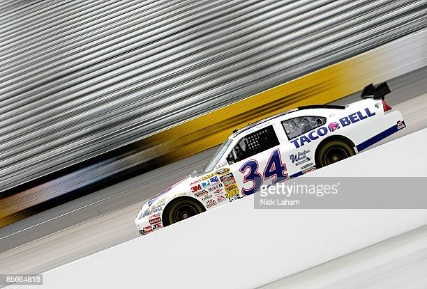 John Andretti driver of the Taco Bell Chevrolet drives during practice for the NASCAR Sprint Cup Series Goody�s Fast Pain Relief 500 at the...