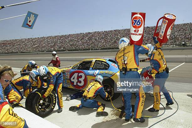 John Andretti pits the Cheerios Petty Enterprises Dodge during the NASCAR Winston Cup AUTO CLUB 500 on April 27 2003 at the California Speedway in...