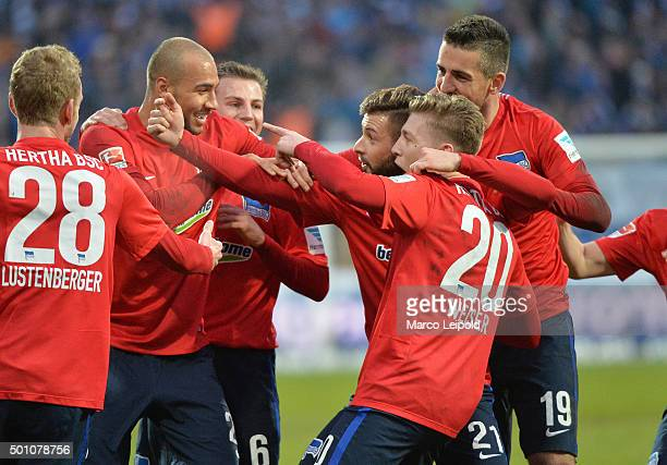 John Anthony Brooks Marvin Plattenhardt Mitchell Weiser and Vedad Ibisevic of Hertha BSC celebrate after scoring the 02 during the Bundesliga match...