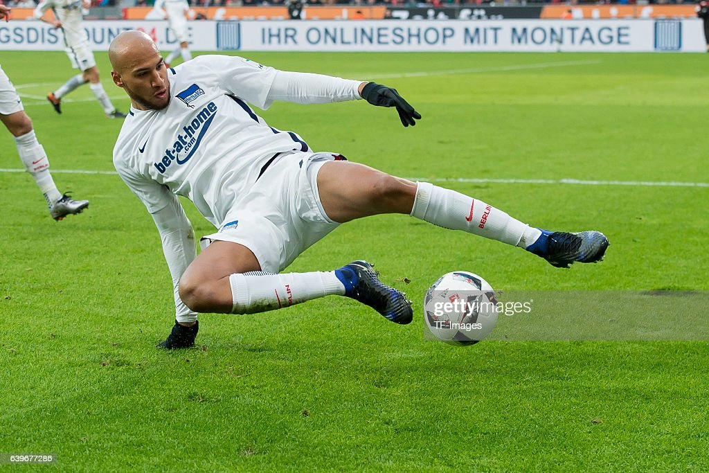 John Anthony Brooks of Berlin in action during the Bundesliga match between Bayer 04 Leverkusen and Hertha BSC at BayArena on January 22, 2017 in Leverkusen, Germany.