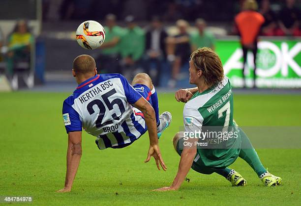 John Anthony Brooks of Hertha BSC and Jannik Vestergaard of Werder Bremen fight for the ball during the game between Hertha BSC and Werder Bremen on...