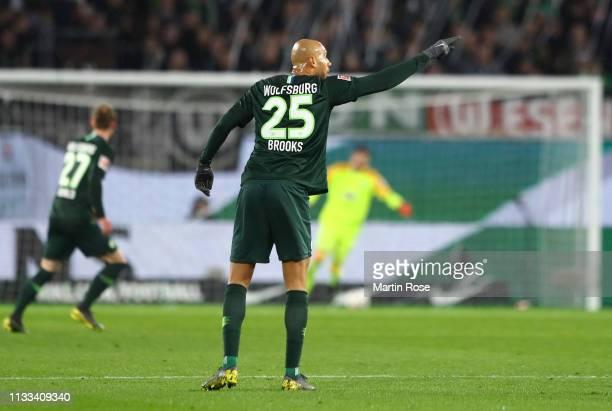 John Anthony Brooks of VfL Wolfsburg reacts during the Bundesliga match between VfL Wolfsburg and SV Werder Bremen at Volkswagen Arena on March 03...