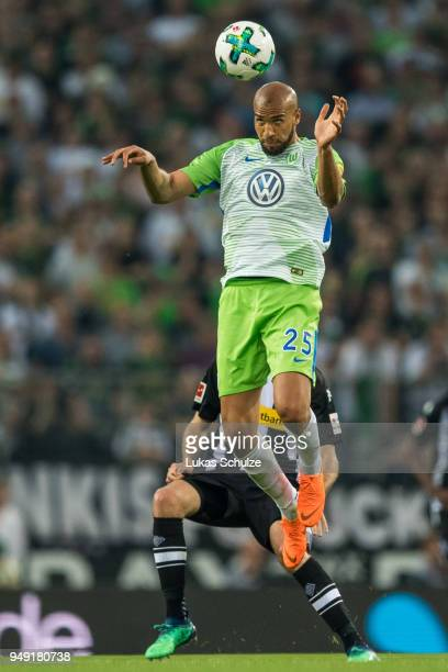 John Anthony Brooks of Wolfsburg in action during the Bundesliga match between Borussia Moenchengladbach and VfL Wolfsburg at BorussiaPark on April...
