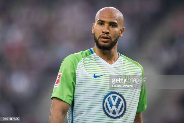 John Anthony Brooks of Wolfsburg looks up during the Bundesliga match between Borussia Moenchengladbach and VfL Wolfsburg at BorussiaPark on April 20...