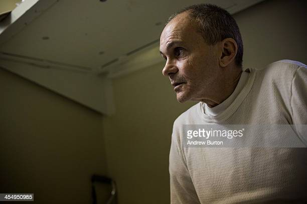 John Armstrong a prisoner at Rhode Island's John J Moran Medium Security Prison watches television during free time in his cell on December 10 2013...