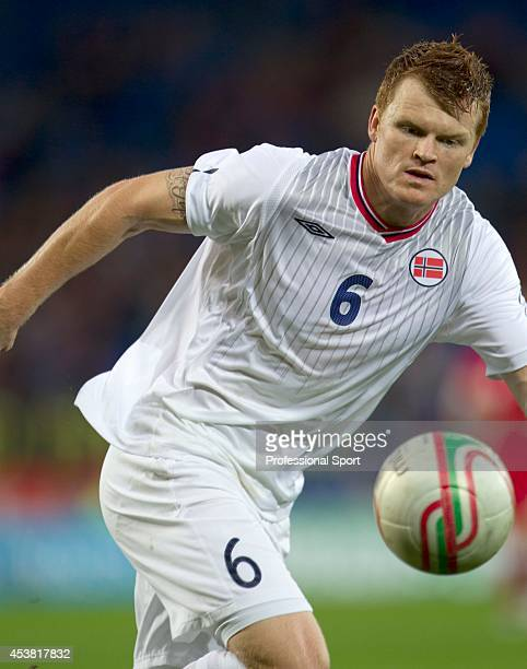 John Arne Riise in action for Norway during the Wales v Norway International Friendly match at the Cardiff City Stadium on November 12 2011 in...
