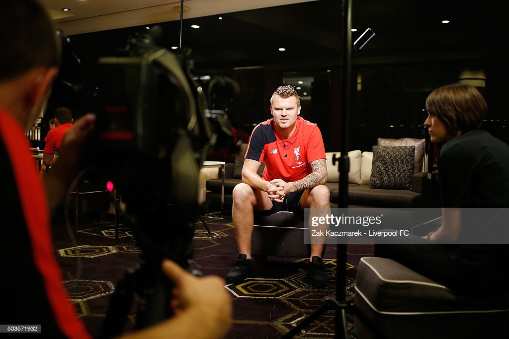 John Arne Riise is interviewed by Liverpool TV on January 6, 2016 in Sydney, Australia.