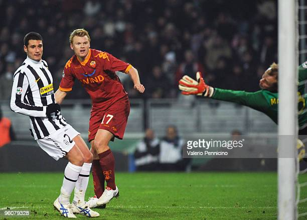 John Arne Riise of AS Roma scores his goal during the Serie A match between Juventus FC and AS Roma at Olimpico Stadium on January 23 2010 in Turin...