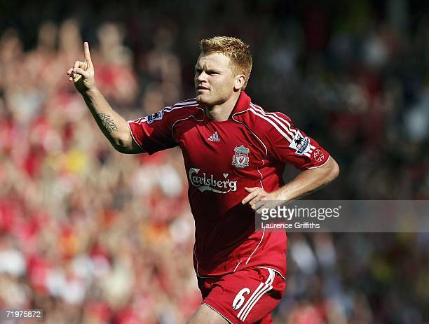 John Arne Riise of Liverpool celebrates the third goal during the Barclays Premiership match between Liverpool and Tottenham Hotspur at Anfield on...