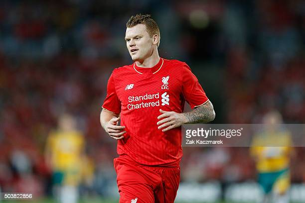 John Arne Riise of Liverpool FC Legends in action during the match between Liverpool FC Legends and the Australian Legends at ANZ Stadium on January...