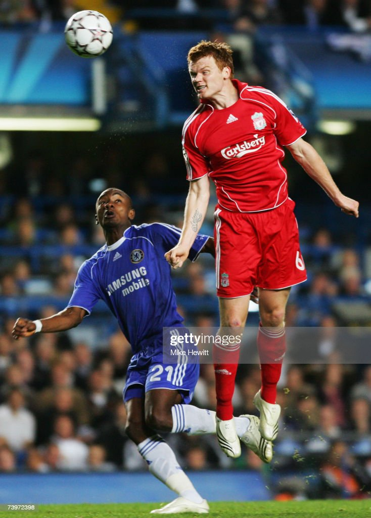 John Arne Riise of Liverpool heads clear from Salomon Kalou of Chelsea during the UEFA Champions League semi final, first leg match between Chelsea and Liverpool at Stamford Bridge on April 25, 2007 in London, England.