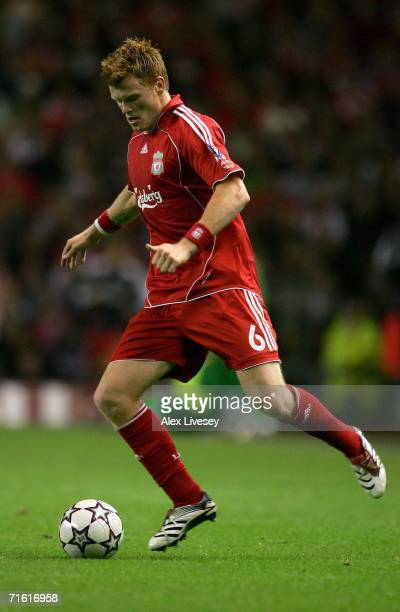 John Arne Riise of Liverpool in action during the UEFA Champions League third qualifying round 1st leg match between Liverpool and Maccabi Haifa at...