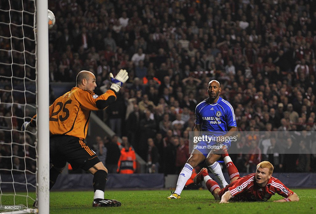 John Arne Riise of Liverpool scores an own goal during the UEFA Champions League Semi Final, first leg match between Liverpool and Chelsea at Anfield on April 22, 2008 in Liverpool, England.
