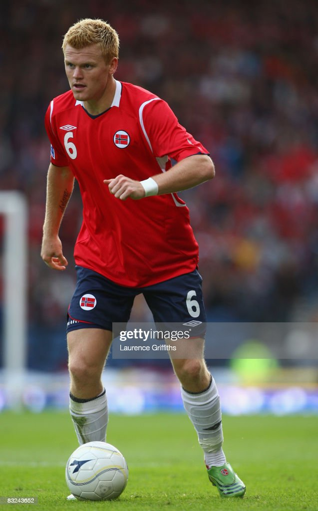 John Arne Riise of Norway in action during the FIFA 2010 World Cup Qualifying Match between Scotland and Norway at Hampden Park on October 11, 2008 in Glasgow, Scotland.
