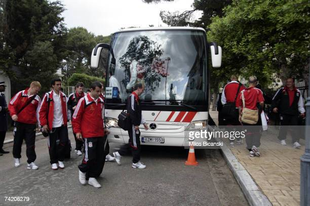 John Arne Riise Xabi Alonso and Javier Mascherano of Liverpool FC arrives at the team hotel ahead of the UEFA Champions League Final on May 21 in...