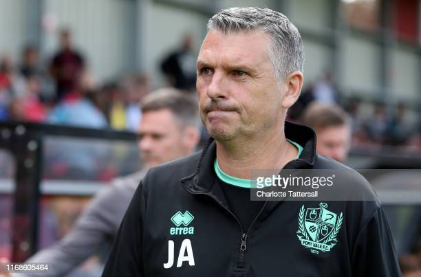 John Askey manager of Port Vale looks on prior to the Sky Bet League Two match between Salford City and Port Vale at Moor Lane on August 17 2019 in...