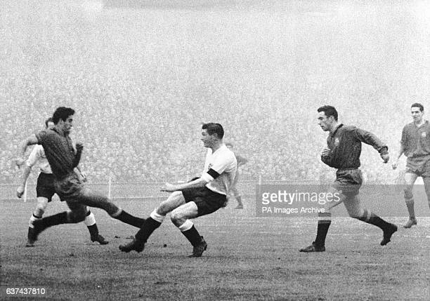 John Atyeo scores the first of England's four goals The match finished 4 1 This was the first time floodlights had been used for an international...