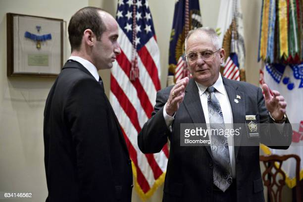 John Aubrey sheriff from Jefferson County Kentucky right speaks with Stephen Miller White House senior advisor for policy before the start of a...