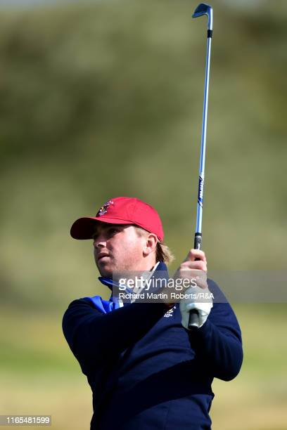John Augenstein of the United States hits an approach shot on the 2nd hole during a practice round at Royal Birkdale Golf Club prior to the 2019...