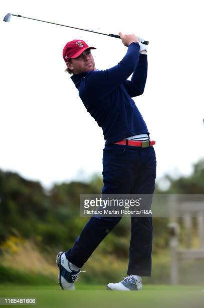 John Augenstein of the United States tees off on the 3rd hole during a practice round at Royal Birkdale Golf Club prior to the 2019 Walker Cup on...