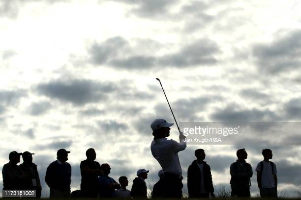 John Augenstein of the United States tees off on the eleventh in the singles matches during Day 2 of the Walker Cup at Royal Liverpool Golf Club on...