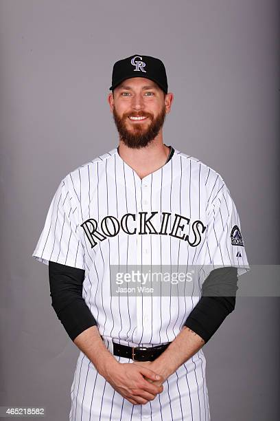 John Axford of the Colorado Rockies poses during Photo Day on Sunday March 1 2015 at Salt River Fields at Talking Stick in Scottsdale Arizona