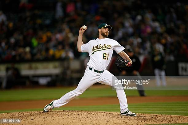 John Axford of the Oakland Athletics pitches during the game against the Pittsburgh Pirates at the Oakland Coliseum on July 2 2016 in Oakland...