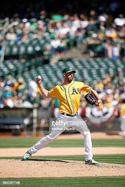 John Axford of the Oakland Athletics pitches during the game against the Pittsburgh Pirates at the Oakland Coliseum on July 3 2016 in Oakland...