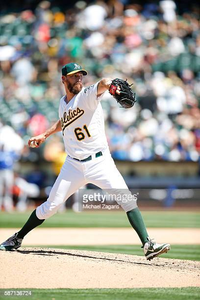 John Axford of the Oakland Athletics pitches during the game against the Toronto Blue Jays at the Oakland Coliseum on July 16 2016 in Oakland...