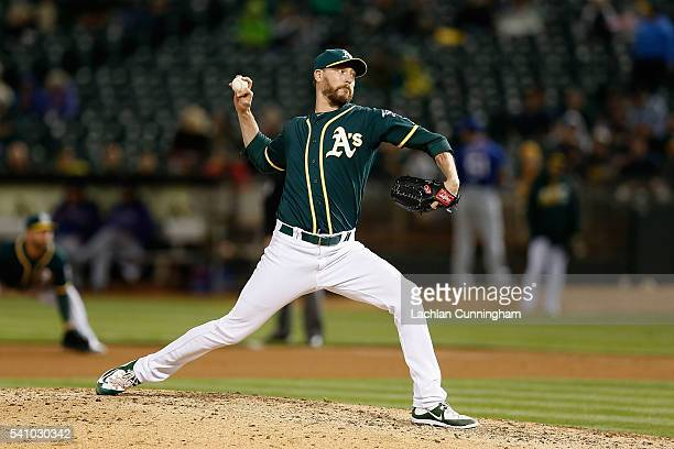 John Axford of the Oakland Athletics pitches in the seventh inning against the Texas Rangers at Oco Coliseum on June 15 2016 in San Francisco...