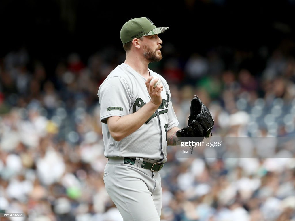 John Axford #61 of the Oakland Athletics reacts in the eighth inning against the New York Yankees on May 28, 2017 at Yankee Stadium in the Bronx borough of New York City.