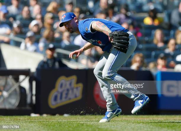 John Axford of the Toronto Blue Jays in action against the New York Yankees at Yankee Stadium on April 22 2018 in the Bronx borough of New York City...