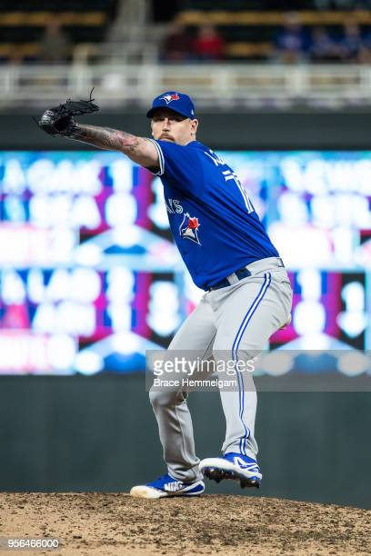 John Axford of the Toronto Blue Jays pitches against the Minnesota Twins on May 1 2018 at Target Field in Minneapolis Minnesota The Blue Jays...