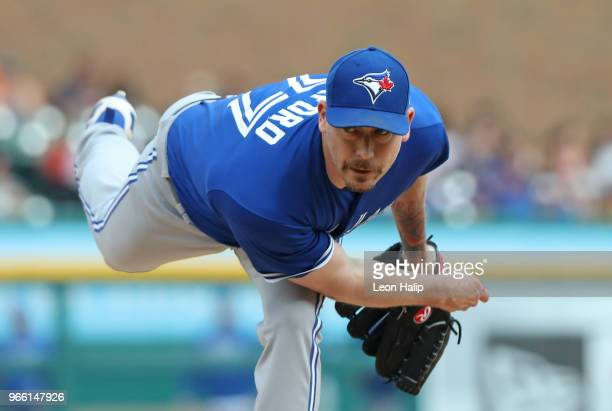 John Axford of the Toronto Blue Jays pitches during the sixth inning of the game against the Detroit Tigers at Comerica Park on June 2 2018 in...