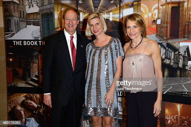 John B Emerson Ulrike Doepfner and Kimberly Emerson attend the US Reception 2015 during the 65th Berlinale International Film Festival at the Embassy...